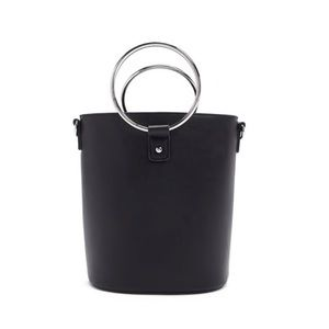 Faux Leather Bucket Bag with Circular Handle